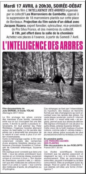 Soirée l'intelligence des arbres à l'Utopia