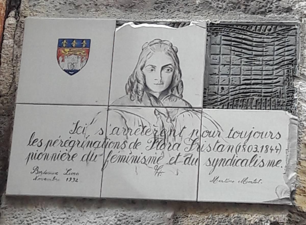 La Plaque De Flora Tristan Vandalisée à Bordeaux