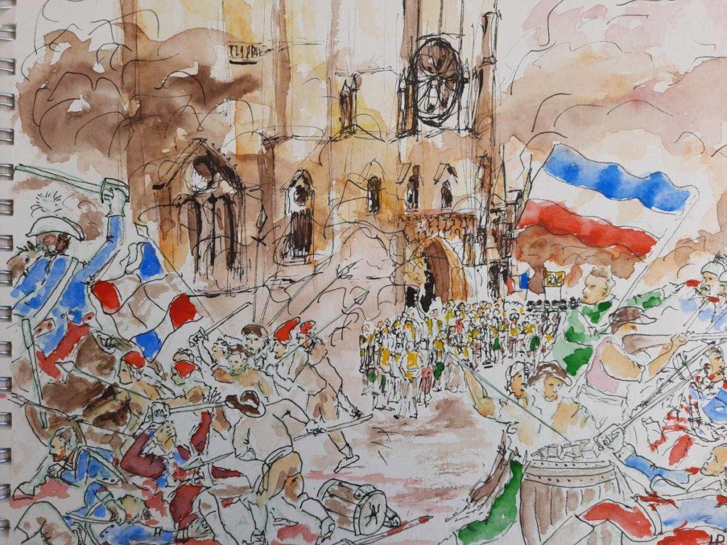 Une Bordeaux et ses révoltes populaires aquarelle d'Henri Plandé